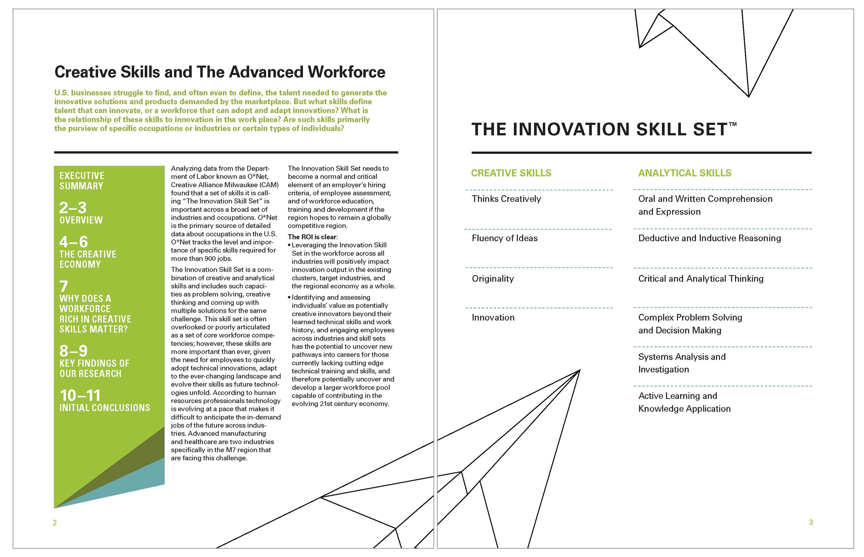 creative alliance milwaukee odvant creative the sharp diagonal lines of the plane helped to activate various parts of the executive summary we also laid out almost 100 pages and graphs of the study